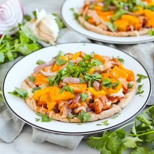 BBQ Chicken Pita Pizza with Bell Pepper, Onion & Cilantro