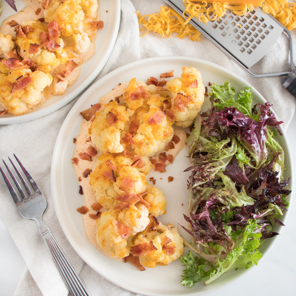 "Cauliflower-Bacon ""Mac & Cheese"" Gratin with Mixed Greens"