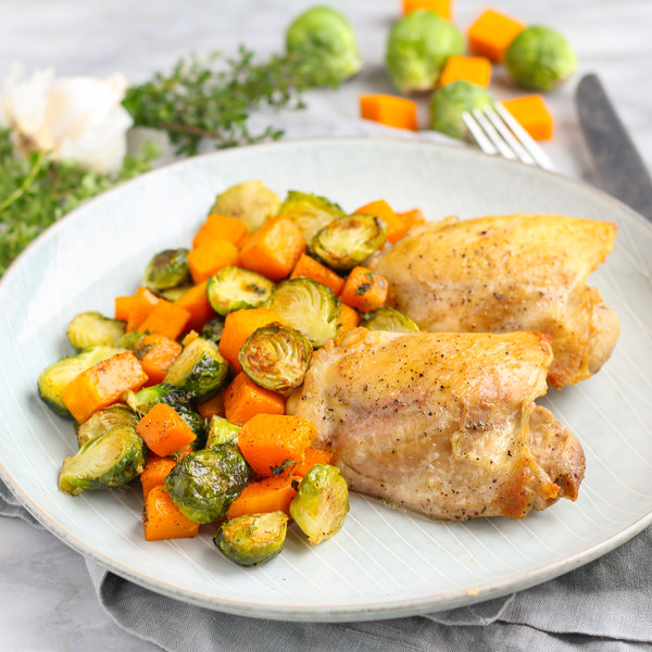 Sheet Pan Chicken with Maple-Thyme Squash & Brussels Sprouts