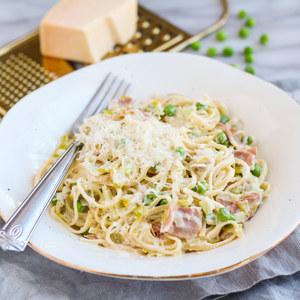Creamy Leek, Prosciutto & Pea Linguine with Parmesan