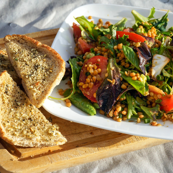 Lentil, Tomato & Mixed Greens Salad with Avocado & Garlic Bread