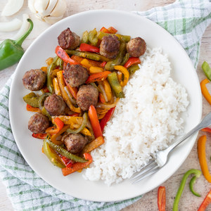 Spicy Italian Sausage & Mixed Pepper Skillet with Rice