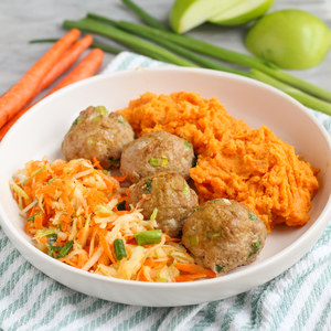 Spicy Turkey Meatballs with Mashed Sweet Potatoes & Apple-Carrot Slaw