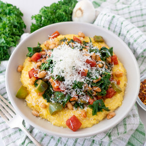 Tomato, Kale & Cannellini Bean Skillet with Parmesan Polenta