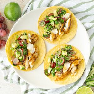 Grilled Fish Tacos with Spicy Avocado, Grape & Cilantro Salsa