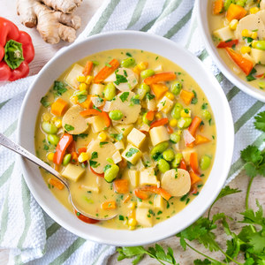 Vegetable Soup with Edamame, Water Chestnuts & Cilantro-Coconut Broth