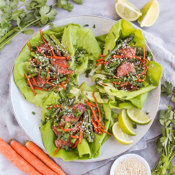 Sesame Beef, Asparagus & Carrot Lettuce Wraps with Cilantro