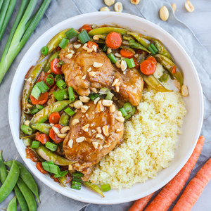 Orange-Spiced Chicken with Snap Peas, Carrots, Couscous & Peanuts
