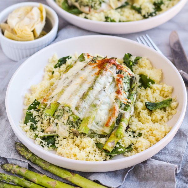 """Artichoke Dip"" Smothered Chicken & Asparagus over Spinach Couscous"