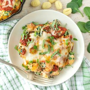Cheesy Lasagne-Style Gnocchi Bake with Spinach & Fresh Basil