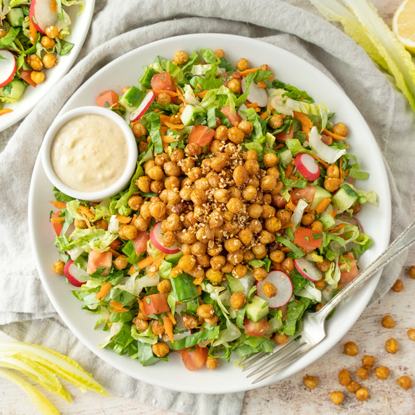 Falafel-Inspired Salad with Crispy Chickpeas & Lemon Tahini Dressing
