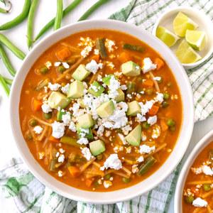 Mexican Tomato Soup (Sopa de Fideo) with Pasta, Avocado & Feta