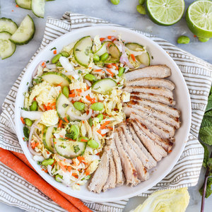 Pan Seared Pork Chops with Crispy Vietnamese Cabbage & Mint Salad