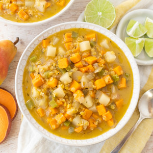 Red Lentil Soup with Sweet Potato, Pear, Coconut Milk & Lime