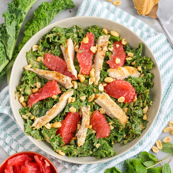 Chicken, Kale, Grapefruit & Mint Salad with Thai Peanut Dressing