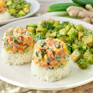 Smoked Salmon Sushi Stacks with Ginger Rice & Avocado-Cucumber Salad