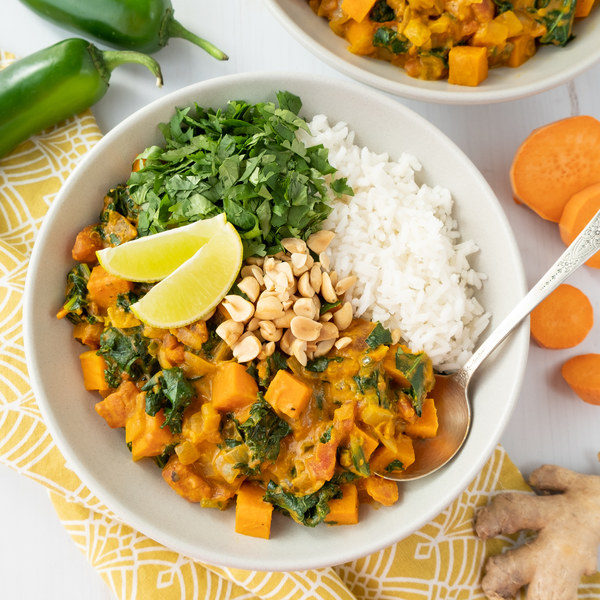 Spicy African Peanut Curry with Sweet Potato, Kale, Cilantro & Rice