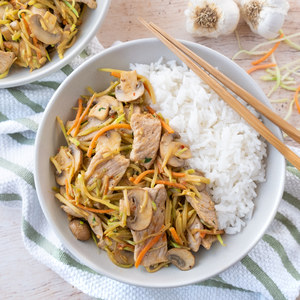Mu Shu-Style Pork with Broccoli Slaw & Mushrooms over Jasmine Rice