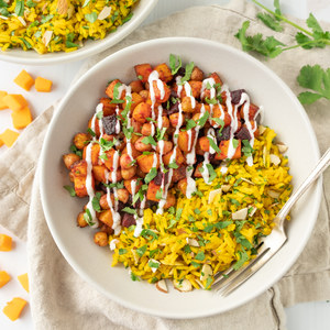 Spiced Beet, Butternut & Chickpea Bowl with Rice Pilaf & Lemon Yogurt