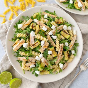 Grilled Chicken, Zucchini & Arugula Pasta Salad with Goat Cheese