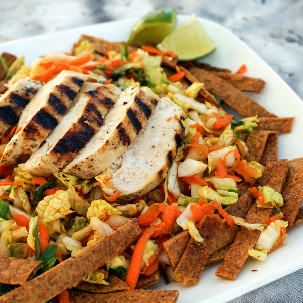 Chinese Chicken Salad with Napa Cabbage, Carrots & Tortilla Strips