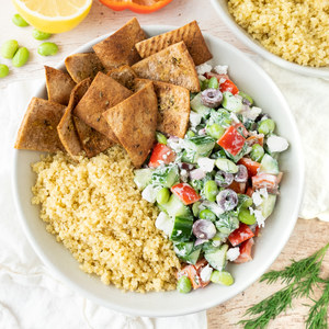 Greek-Style Quinoa & Edamame Salad Bowl with Pita Chips