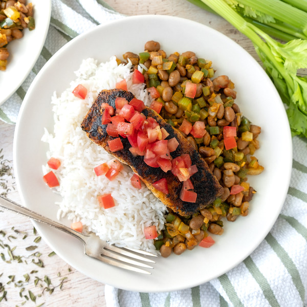 Blackened Salmon with Cajun-Spiced Beans, Rice & Tomato Relish