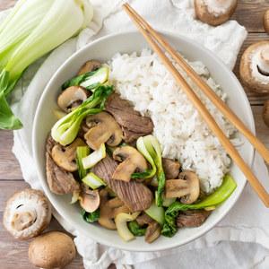 Beef, Ginger, Mushroom & Bok Choy Stir-Fry with Jasmine Rice