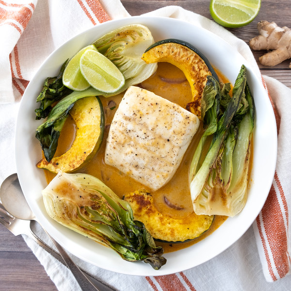 Poached Halibut with Roasted Bok Choy & Acorn Squash in Coconut Broth