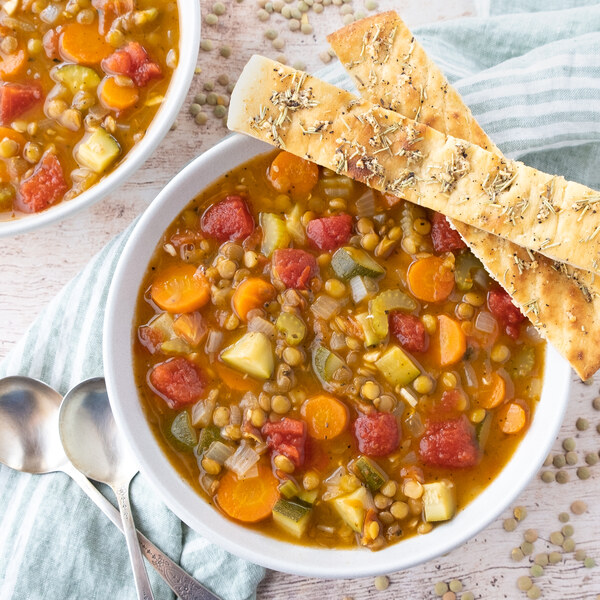 Classic Lentil Soup with Zucchini, Carrot, Celery & Breadsticks
