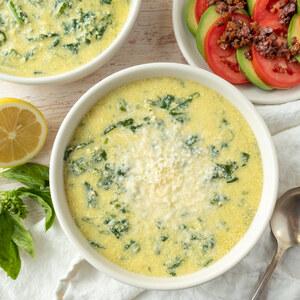 Roman Egg Drop Soup (Stracciatella) with Olive, Tomato & Avocado Salad