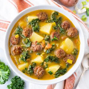 Portuguese Sausage, Potato & Leafy Greens Soup (Caldo Verde)