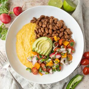 Cheesy Polenta Bowl with Pinto Beans, Pico de Gallo Salad & Avocado
