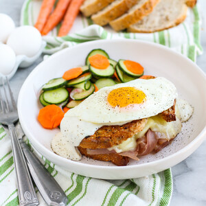 "Saucy Grilled Ham & Cheese ""Croque Madame"" with Pickled Veggies"