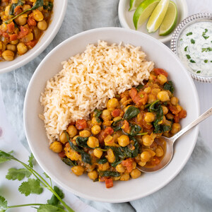 Spicy Chickpea Stew (Chana Masala) with Rice & Cilantro-Lime Raita