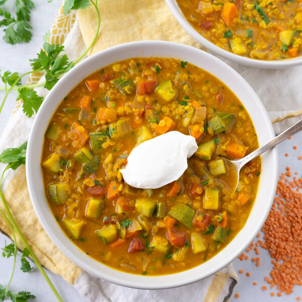 Curried Coconut-Red Lentil Soup with Veggies, Cilantro & Yogurt