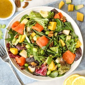 Smoked Salmon Salad with Edamame, Mango, Pear, Avocado & Pecans