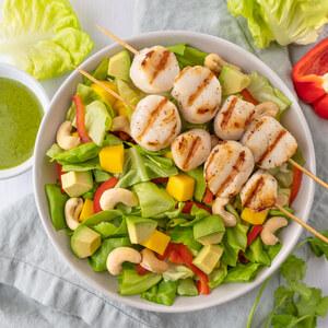 Grilled Scallop Salad with Mango, Bell Pepper & Cilantro Vinaigrette