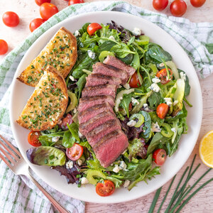 Steak Salad with Celery, Tomatoes, Blue Cheese & Garlic-Chive Crostini