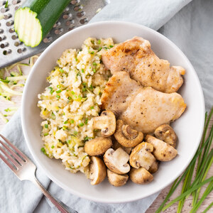 Broiled Chicken Thighs & Mushrooms with Creamy Zucchini-Parmesan Rice