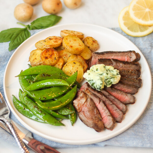 Sirloin Steak with Basil Compound Butter, Roasted Potatoes & Snap Peas