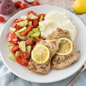 Lemon Oregano Chicken, Feta Mashed Potatoes & Cucumber-Tomato Salad
