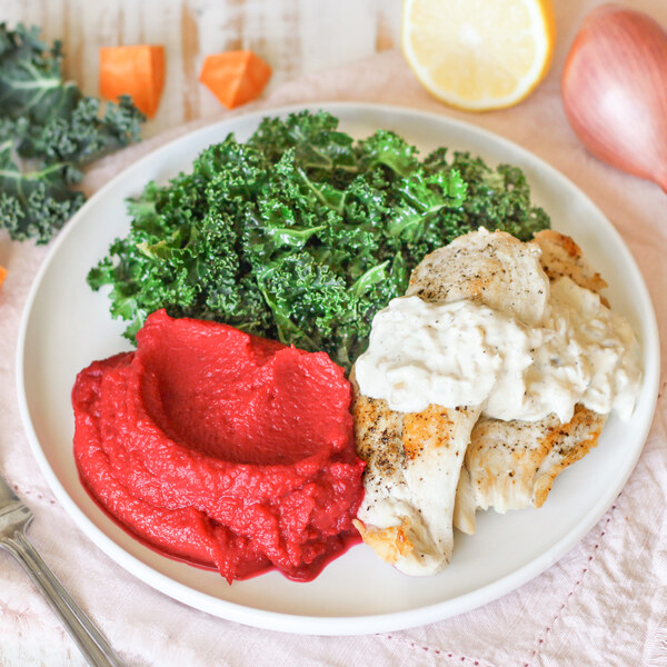 Creamy Thyme Chicken with Sweet Potato-Beet Mash & Dijon Kale Salad