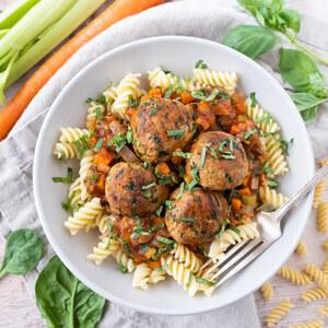 Turkey-Spinach Meatballs with Rotini Pasta, Mixed Veggie Sauce & Basil