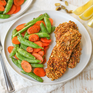 Pistachio Crusted Chicken with Lemon-Dill Carrots & Snap Peas