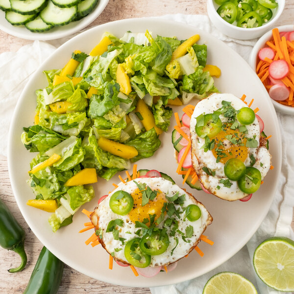 Open-faced Vietnamese Fried Egg Banh Mi with Mango & Romaine Salad