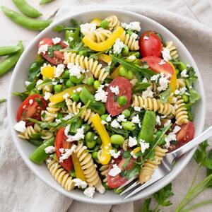 Edamame Pasta Salad with Peas, Bell Pepper, Tomato, Arugula & Feta