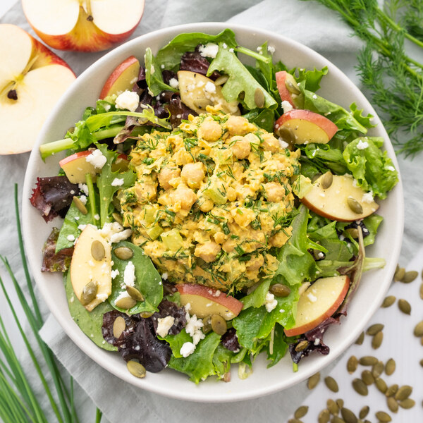 Curried Chickpea Salad with Mixed Greens, Apple, Pumpkin Seeds & Feta