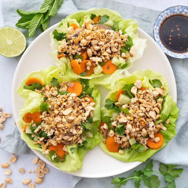 Asian Tofu-Peanut Lettuce Wraps with Carrot, Cucumber, Cilantro & Mint
