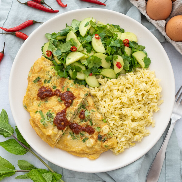 Thai-Style Omelet (Kai Jeow) with Spicy Cucumber-Herb Salad & Rice